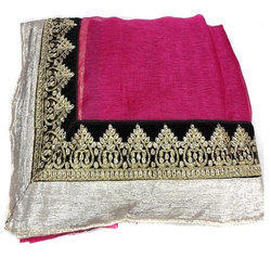 Multicolor Party Wear Ladies Embroidered Saree, With Blouse Piece