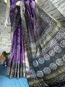Linen Check Batik Printed Sarees