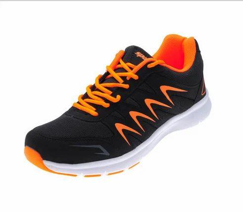 1a2531b695de8 PU Mesh Sparx Black   Orange Gents Sports Shoes SM-276