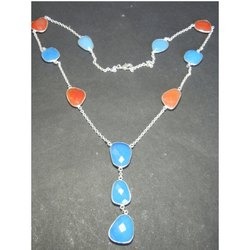 Chalcedony Bezel Set Necklace