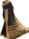 Black Unstitched Handloom Saree, Hand, Handlume