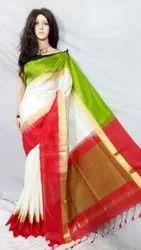 Sanghamitra Sarees Party Wear Bishnupuri silk saree, With blouse piece, 6.5 m