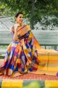Party Wear Printed Banarsi Silk Saree, 6.3 M (with Blouse Piece)