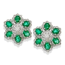 Emerald and Diamond 18k Gold Earring