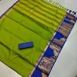 Swastik Creation Zari Silk Saree, 5.5 m (Separate Blouse Piece)