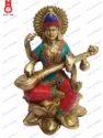 Lotus Base W/Stone Work Ganesha Laxmi & Saraswati Sitting Statue