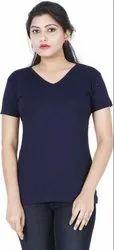 V Neck Plain Stylish Plain T Shirt