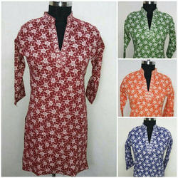 Womens Printed Straight Cotton Kurti