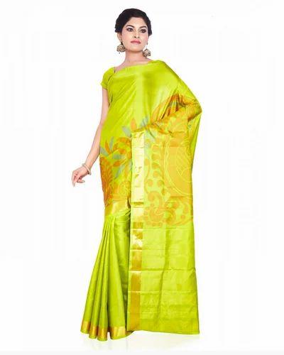 dc235f012f Apple Green Meena Work Handloom Light Weight Soft Silk Saree, With Blouse  Piece