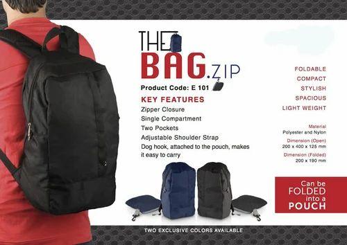 Black   Blue The Bag Zip   Folding Travel Backpack fc193dfec6ea7