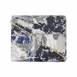 Azzra Printed Fabric Wooden Clutch