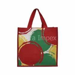 Multicolor Circle Print Jute Tote Bag