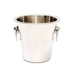 Silver Stainless Steel Ice Bucket Plain With Knob, For Hotel