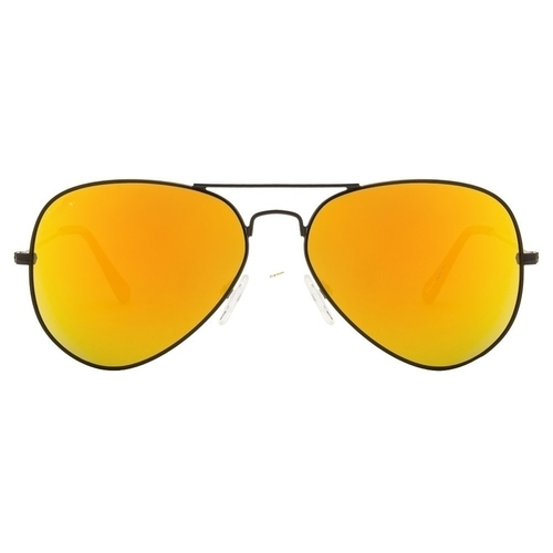 4779d029cdc Yellow Mirrored Mercury Lens In A Black Frame Aviator Sunglasses ...