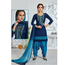 Cotton U Neck Ladies Patiala Suit
