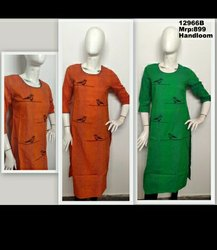 Handloom Stripe Fabric With Embroidery In Round Neck Straight Kurta