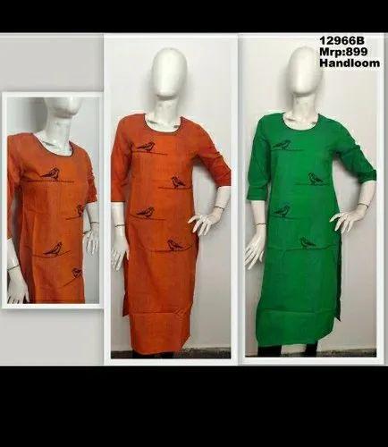 Handloom Stripe Fabric With Embroidery In Round Neck Straight Kurta