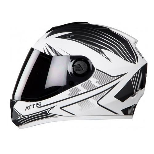 8a5bb317 White Steelbird Hi-gn Men Vision Decal Attis Glossy Helmet, Size: 580 and