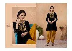Cotton Embroidered Complete Designer Dress With Patiyala, Golden, 20-50