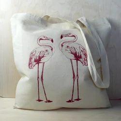White Pattern Cotton Beach Bag