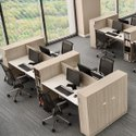 Particle Wood 4 Seater Moduler Cluster Office Workstation