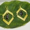 Black Onyx Brass Gold Plated Earring