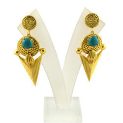 Turquoise Gemstone Gold Plated Brass Push Back Earrings