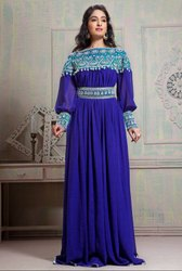 Tantalizing Royal Blue Maxi Full Sleeve Kaftan Dress