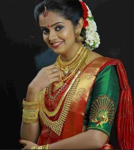 Bridal Makeup For Hindu Kerala Weddings: Red And Blue Hindu Bride Wear, Aham Designer Boutique