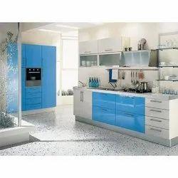 PVC L Shape Modular Kitchen Interior Designing Services, Warranty: 1-5 Years