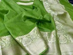 Party Wear Plain Banarasi Kora Linen Soft Silk Saree with Blouse Piece