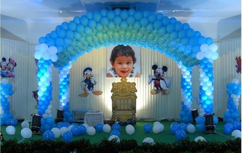 Ceiling And Name Balloon Decoration Services And Blue Canopy Balloon