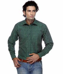 Casual Wear Plain Men's Green Collar Neck Shirt, Size: Medium
