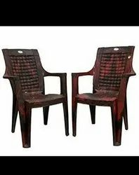 Nilkanth Brown Fixed Arm Plastic Chair