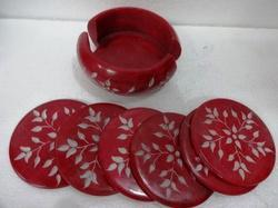 Market Handmade Carved Color Full Soapstone Coaster Set