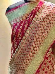 Half fine Zari Gold Party Wear banarasi silk sarees patli, 6.3 m (with blouse piece), Hand Made