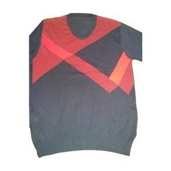 Red And Black Cotton Pullover Sweater