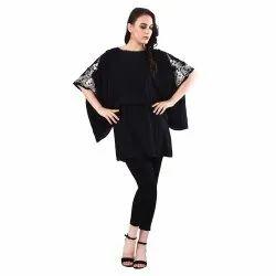 Half Sleeves Black Women Sleeve Long And Neck EMB Top, Size: Medium