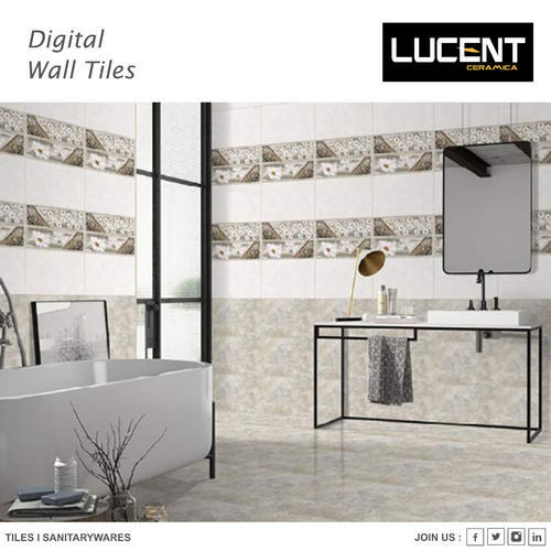 Glossy Bathroom Tiles, Thickness: 5-10 mm
