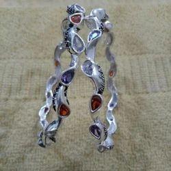 Stone Silver Bangles