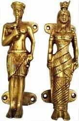 Brass Door Window Cupboard Handle Set : Egyptian King & Queen Cleopatra & Caesar