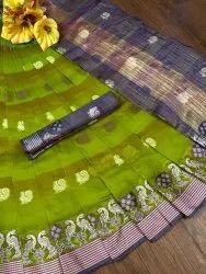 Banarasi Silk Traditional Wear Olive Green Sarees With Blouse Piece