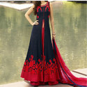 Black And Red Party Wear Jacket Lehenga