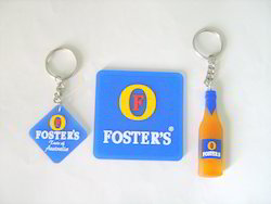 Blue And Yellow And Silver Rubberised Key Rings