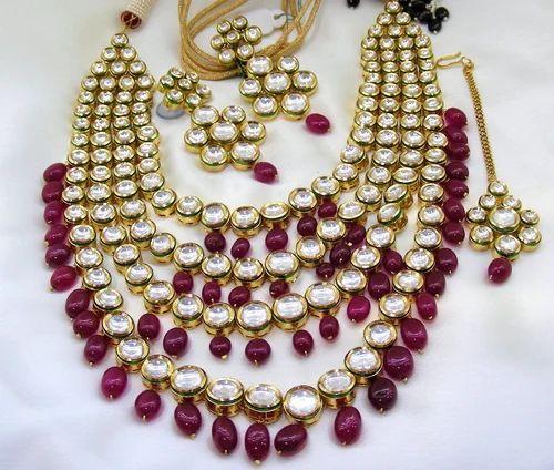 fc89d5ed77c2d Designer Ruby Drops Kundan Stone Long Necklace Set