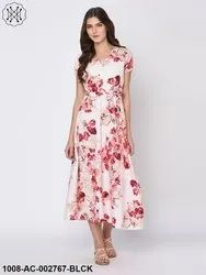 Floral Printed Off White Maxi Dress For Women