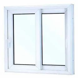 White UPVC Two Track Sliding Window, Glass Thickness: 3mm