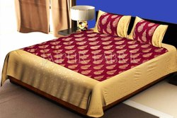 Gold Print Designer Double  Bed Sheet