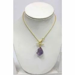 Amethyst Gold Gemstone Necklace