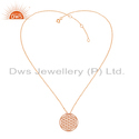 Rose Gold Plated Filigree Handmade Plain Silver Chain Pendant